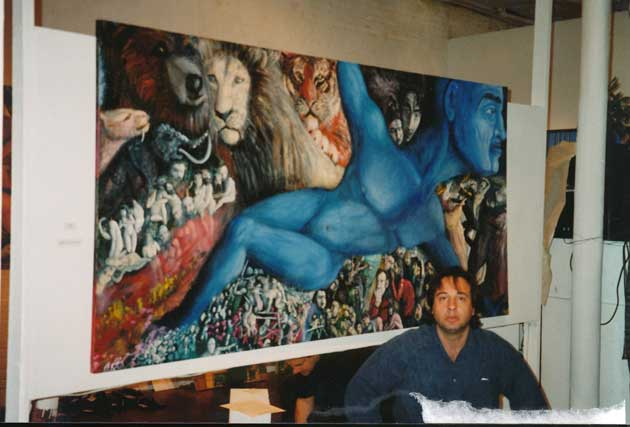 "Alexander Kanevsky in October of 1996 in New York with SoHo debut of his art in front of ""Nomad"""