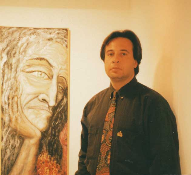 "Alexander Kanevsky in September of 1996 in Barcelona with the International debut of his paintings, in front of ""Cybelle"""